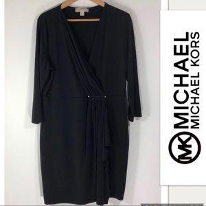 Michael Kors Black Faux Wrap 3/4Sleeve Dress
